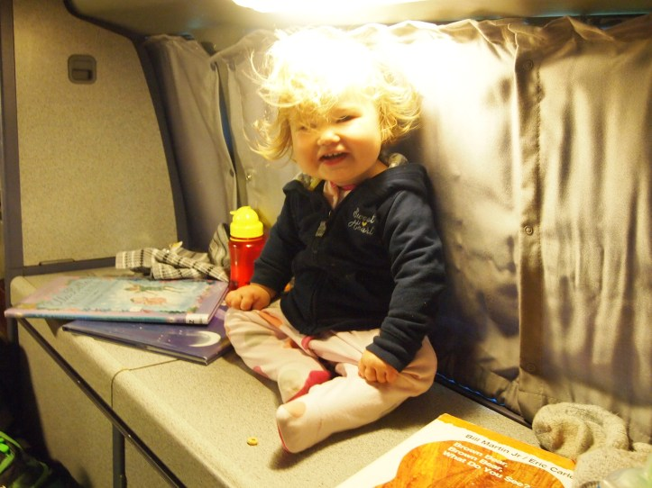 Bedtime in the Van. This little monkey likes to climb everywhere!!