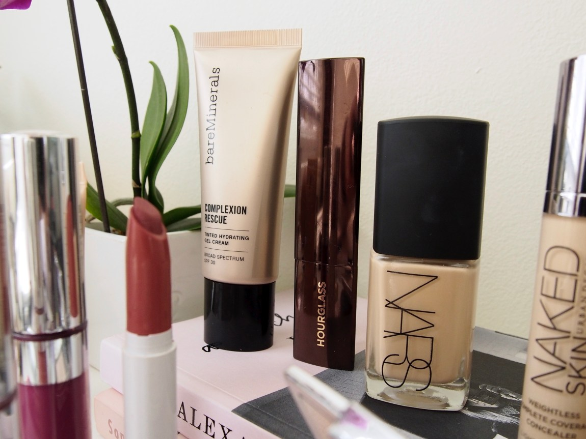 Cruelty Free Favorites - BareMinerals Complexion Rescue, Hourglass Vanish Stick Foundation, Nars Sheer Glow Foundation