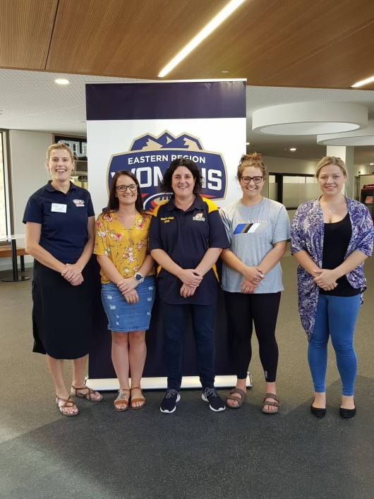 Elle Dow, Candyce Wright, Karen Little, Dee Caifa and Kat Buzinskas from Boronia Hawks Womens Football.