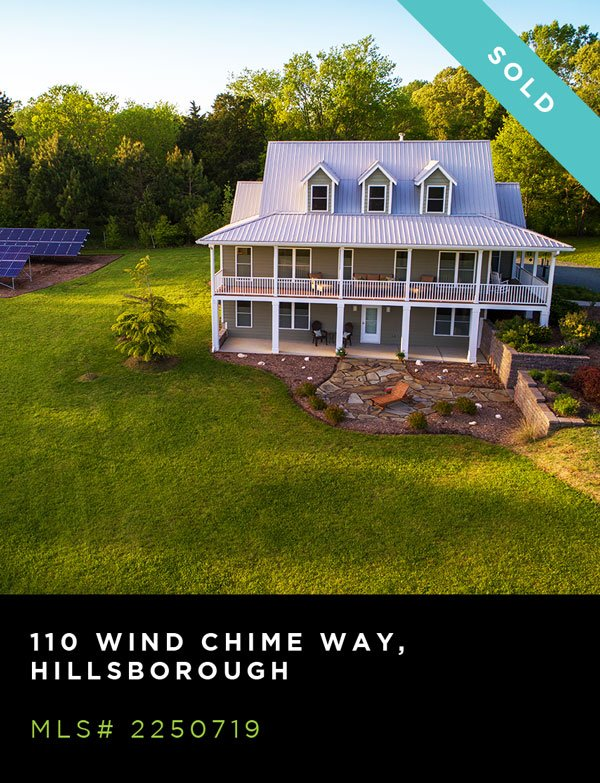 An exterior shot of a house for sale in Hillsborough north carolina, located at 110 WIND CHIME WAY, HILLSBOROUGH. MLS# 2250719