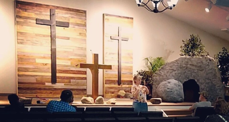 Teaching on the Resurrection using Faux Tomb and Boulder
