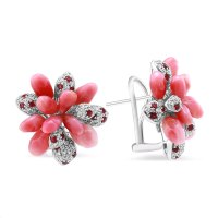 TARA Pearls Conch Pearl, Ruby & Diamond Cluster Earrings