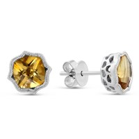 14K White Gold Cushion Citrine Earrings with Double