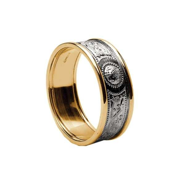 Celtic Warrior Shield Wedding Ring - Medium With Trims