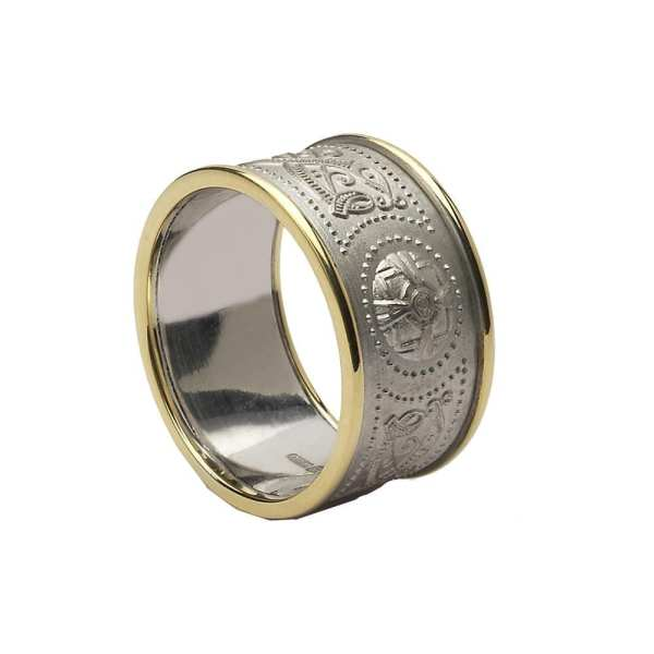 Celtic Warrior Shield Ring - Extra Wide With Trims