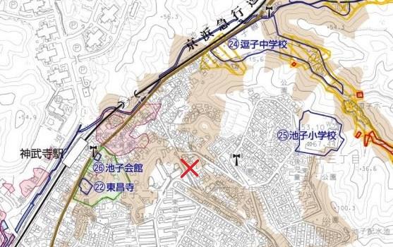 土砂崩落が発生した逗子市内周辺地図(逗子市「土砂災害等ハザードマップ」より)