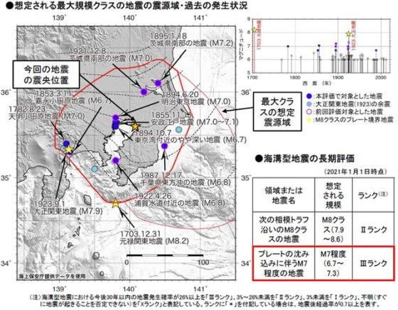 気象庁「想定される最大規模クラスの地震の震源域・過去の発生状況」より