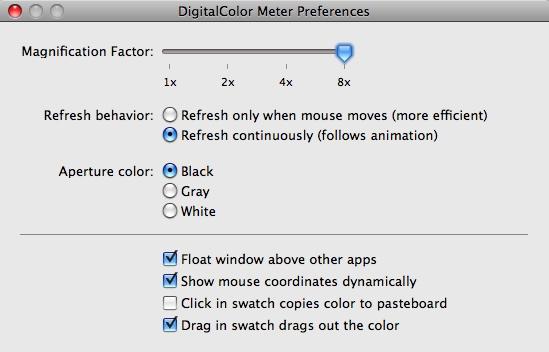 Preferenze di DigitalColor Meter