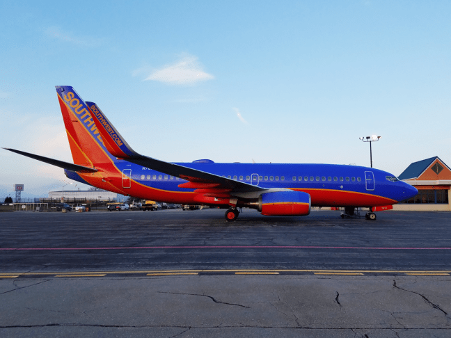 Southwest Airlines 737 at the Reading Regional Airport