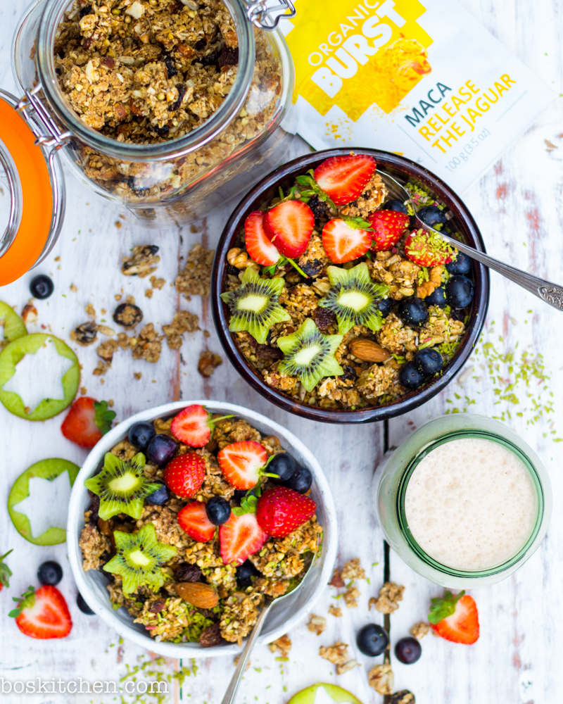 chunky almond granola clusters with maca