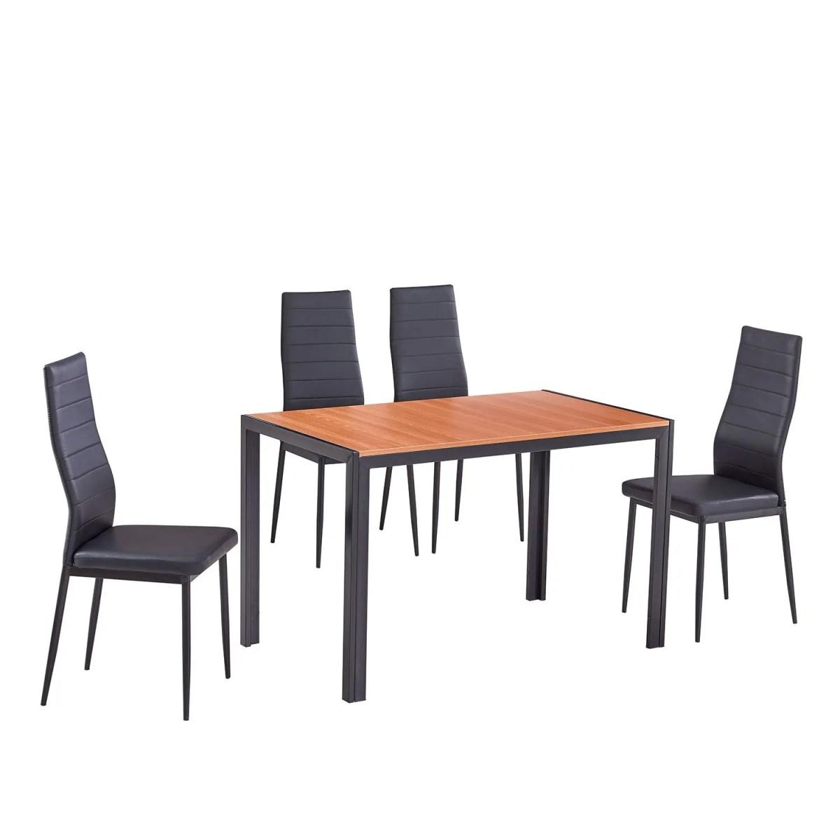 comedor globo elegante de acero con 4 sillas altas 1