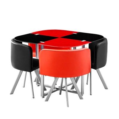 comedor queen de cristal templado con 4 sillas 1