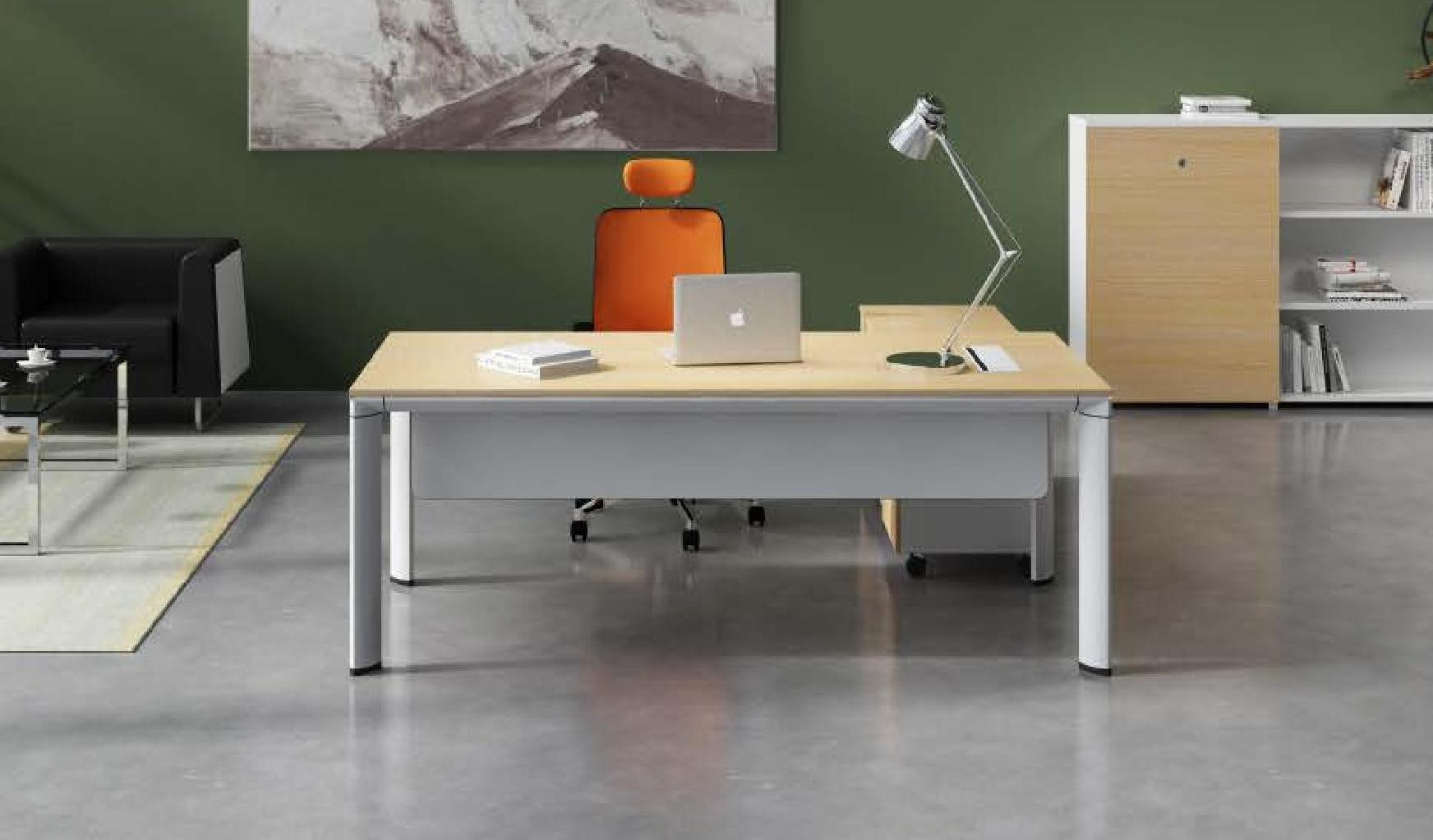 Contemporary Office Table With Credenza: Boss's Cabin
