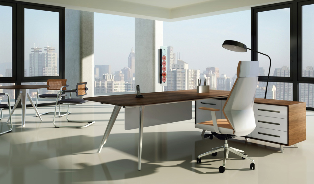 Contemporary Amp Modern Office Table In Rich Walnut Finish