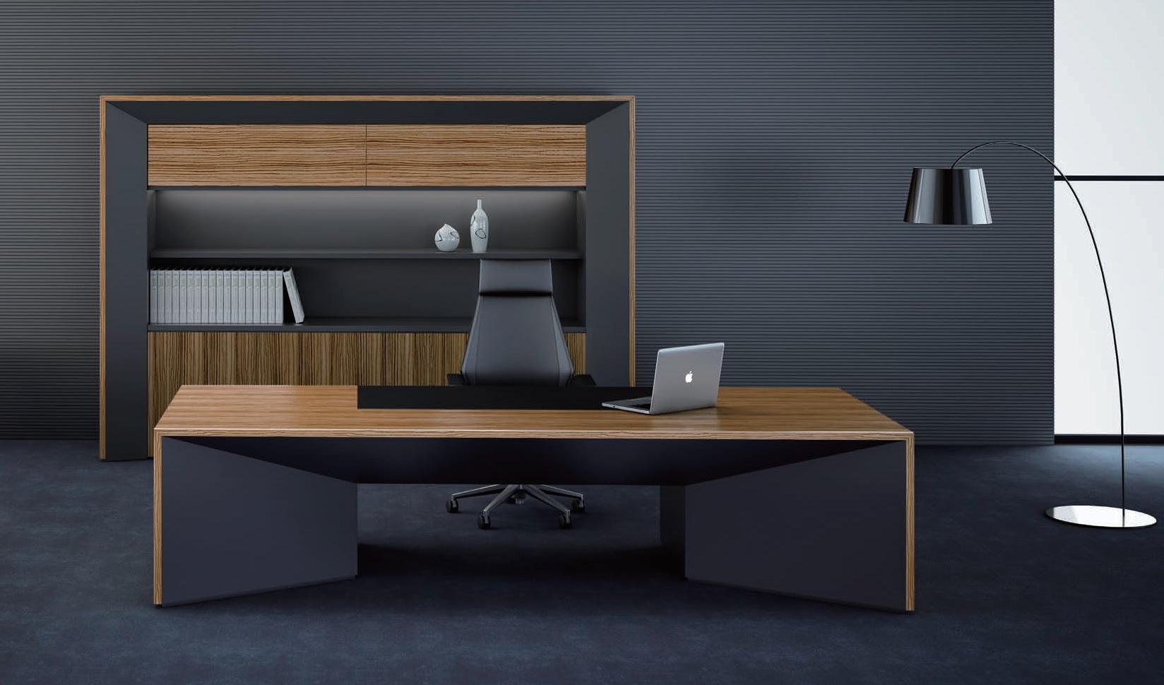 Premium Status Office Table In Zebra Veneer Bosss Cabin