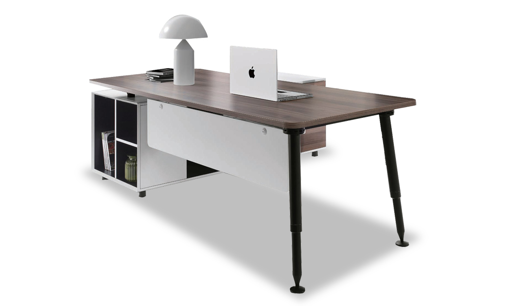 Contemporary & Stylish Office Table With Side Cabinet