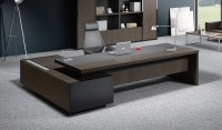 Contemporary Office Table In Leather & Wood: Boss's Cabin