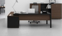 Stylish Office Table With Black Glass Top: Boss's Cabin