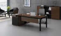 Sleek Office Desk with Storage In Walnut & Black Finish