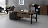 Sleek Office Desk with Storage In Walnut & Black Finish