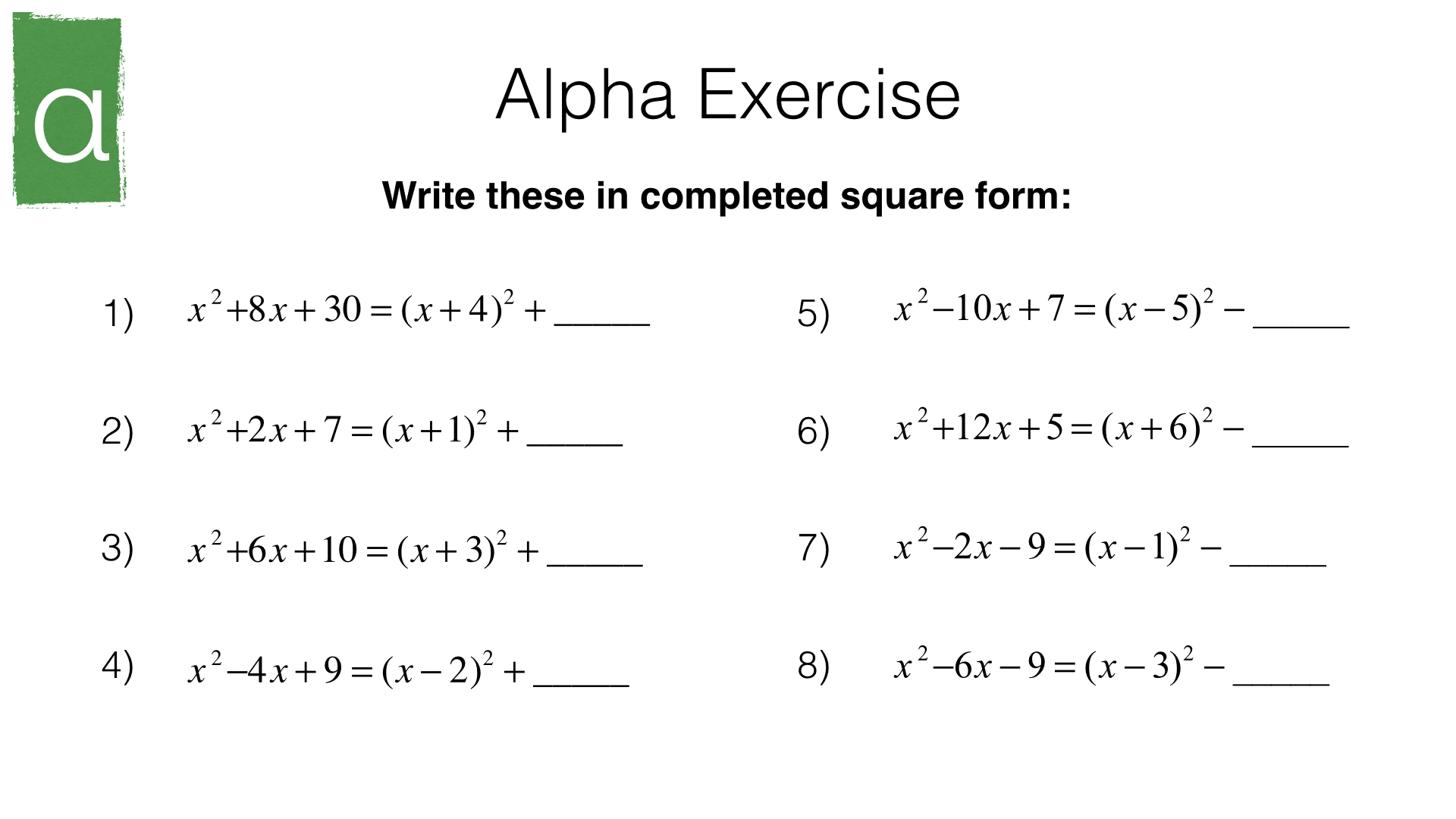A11b Identifying Turning Points Of Quadratic Functions By Completing The Square Bossmaths