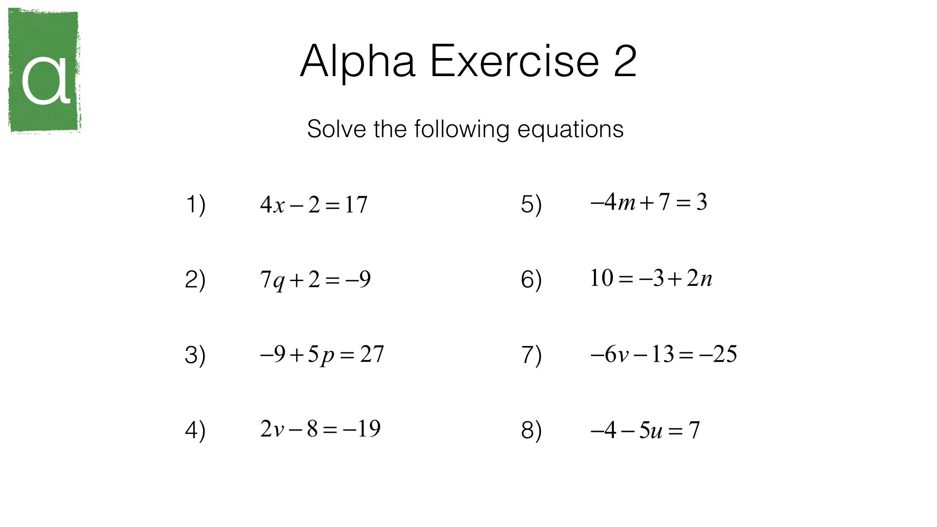 A17a Solving Simple Linear Equations In One Unknown