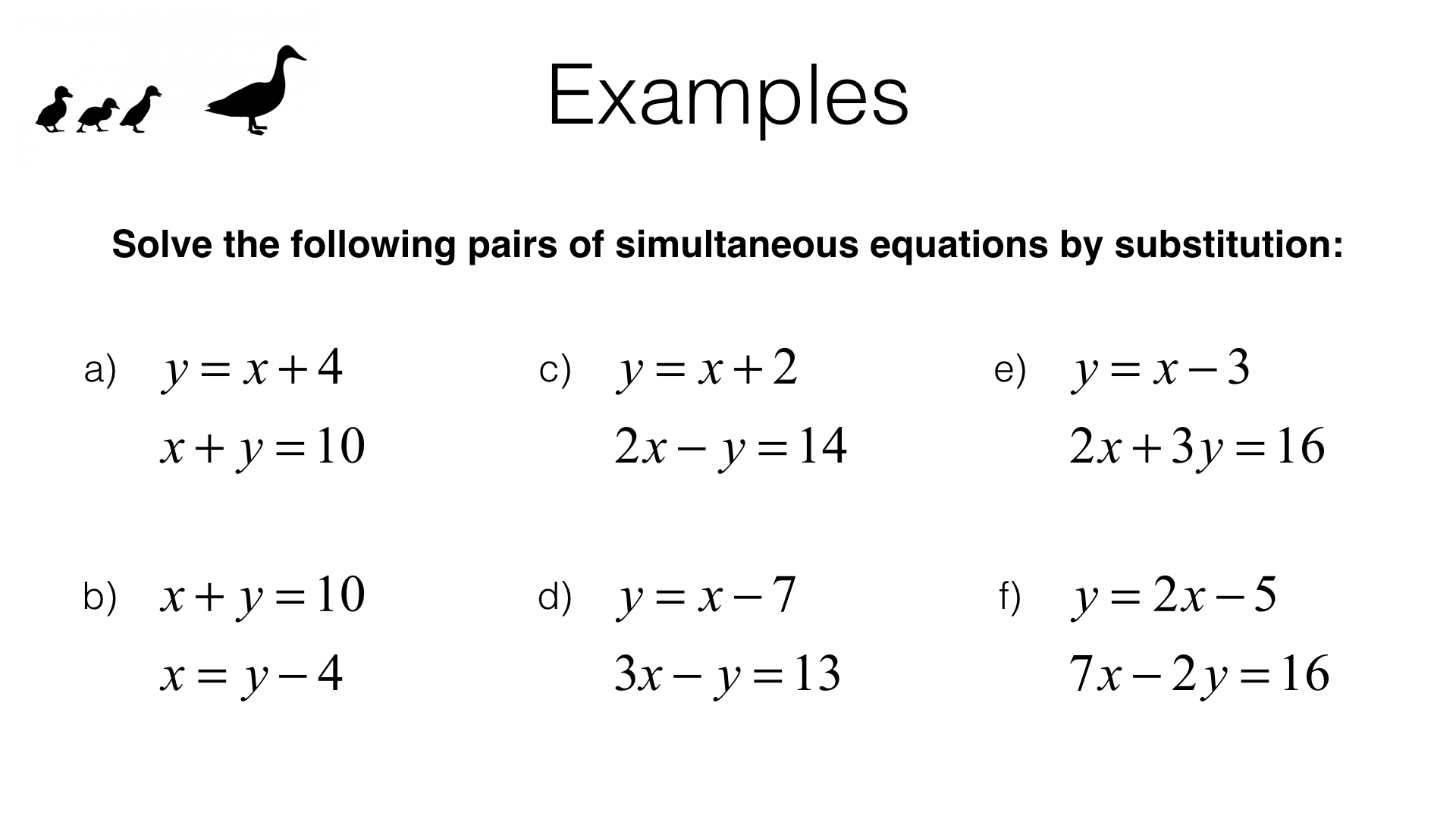 Solving Simultaneous Equations Substitution Worksheet