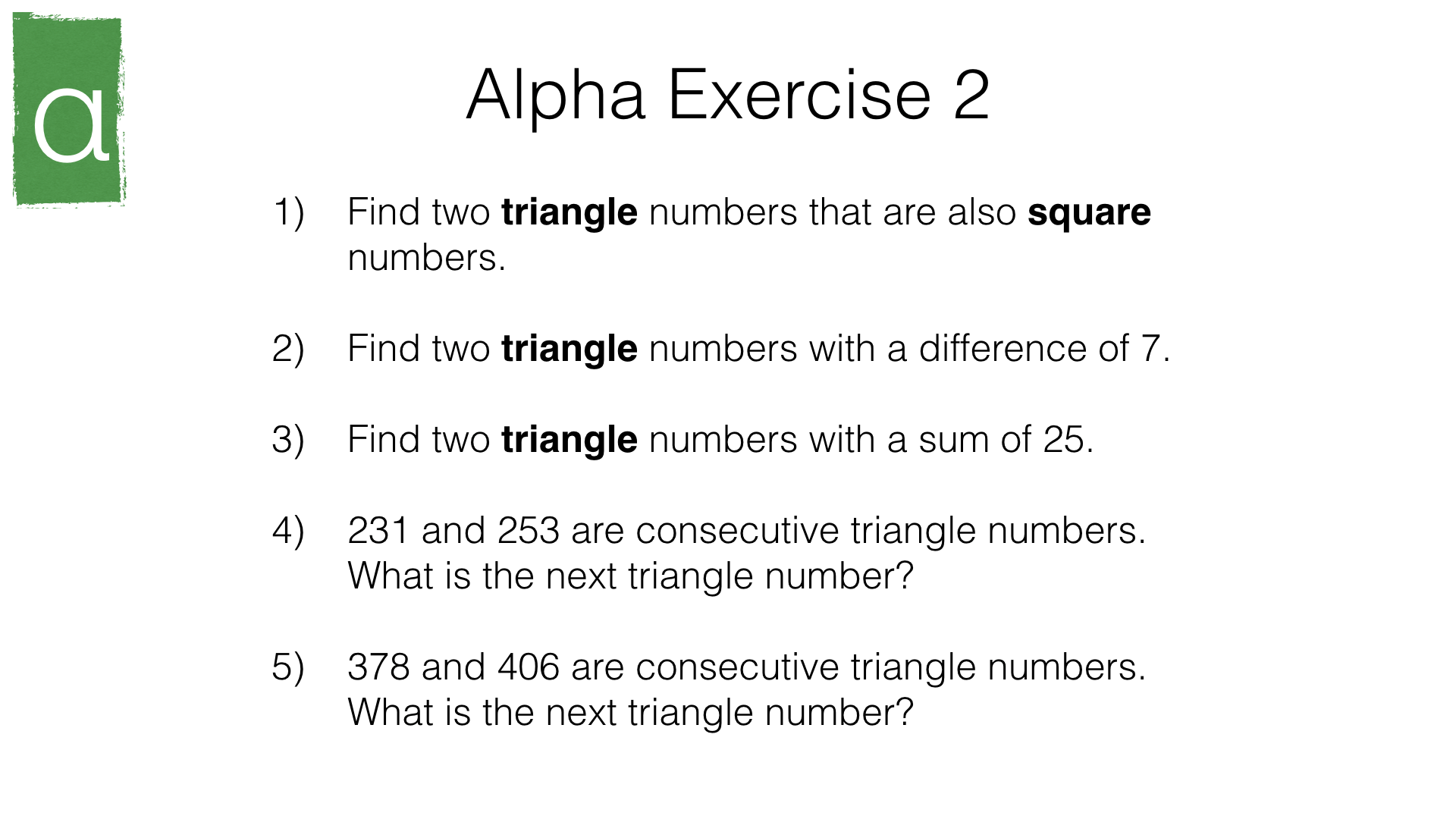 A24a Recognising And Using Square Cube And Triangular Numbers Bossmaths