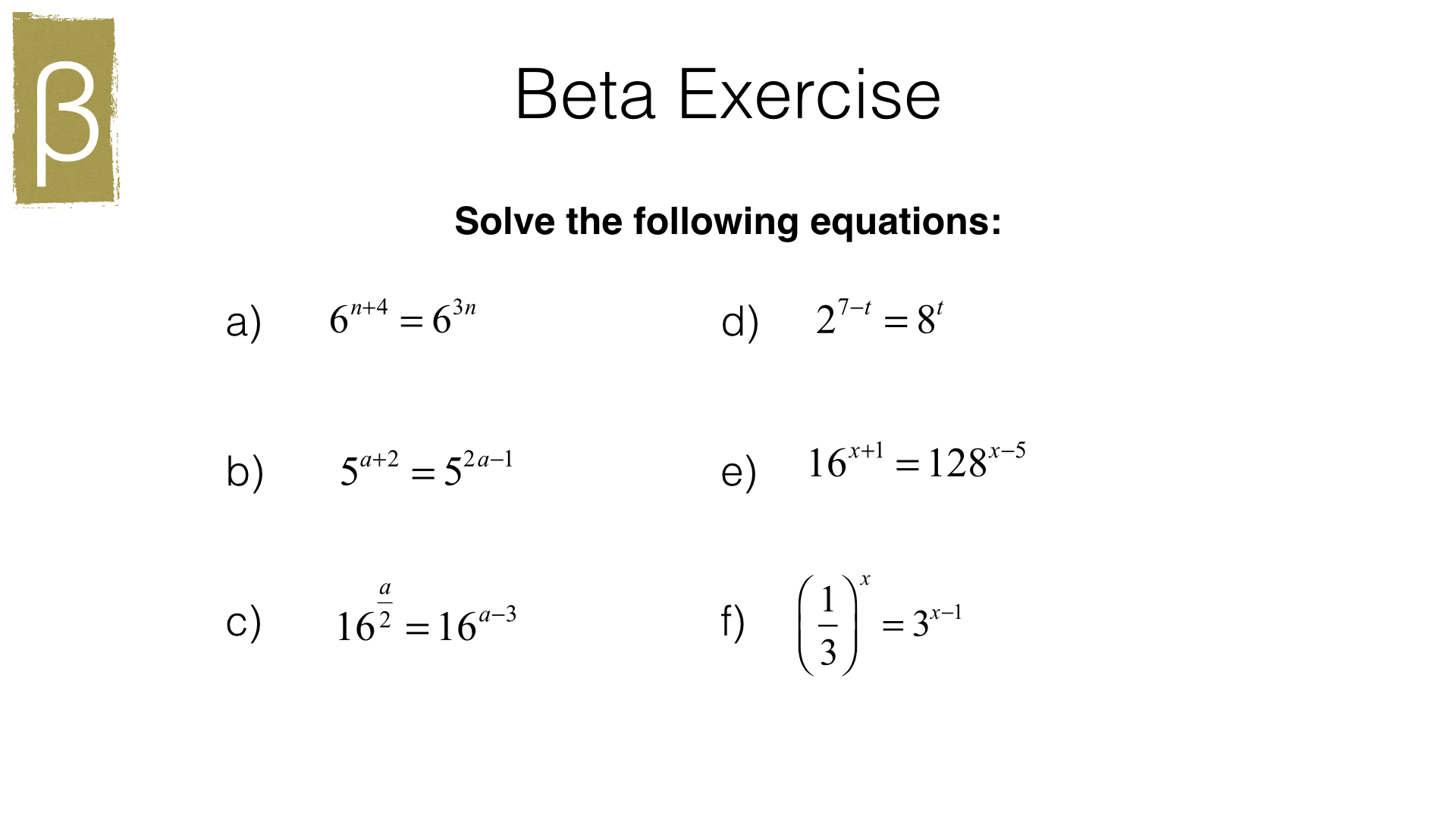 Solving Equations Involving Indices Worksheet