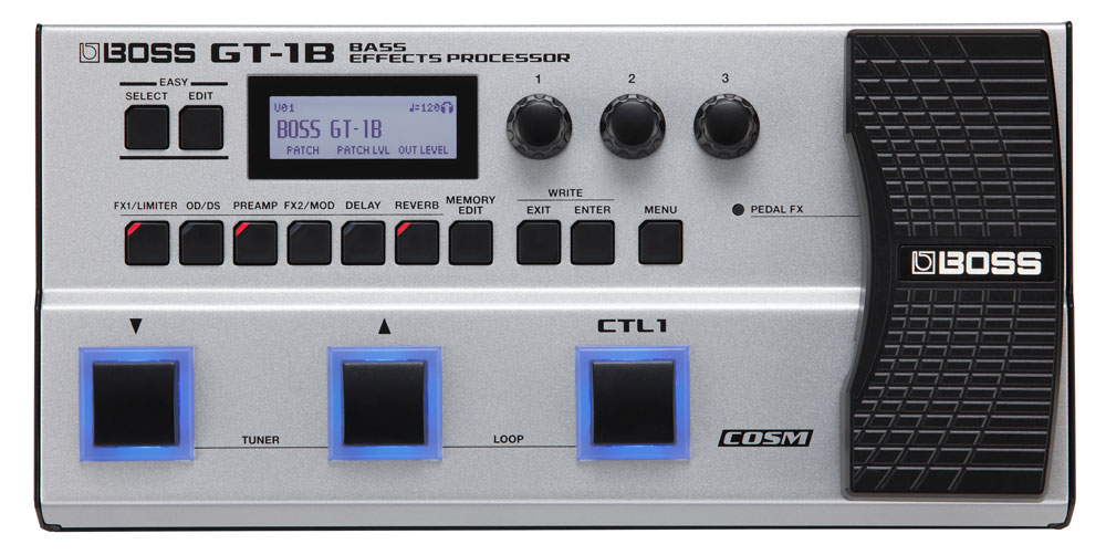 The GT-1B Bass Effects Processor offers pro effects and extensive real-time control in a compact, rugged package.
