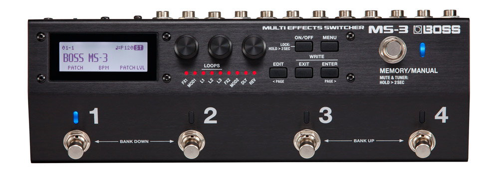 The MS-3 Multi Effects Switcher also functions as ultra-compact multi-effects unit that's perfect traveling players.