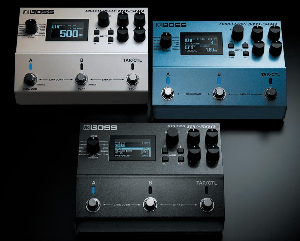 BOSS 500 Series: DD-500 Digital Delay, MD-500 Modulation, and RV-500 Reverb.