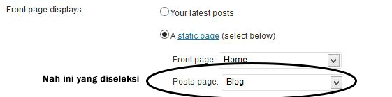 halaman blog di wordpress