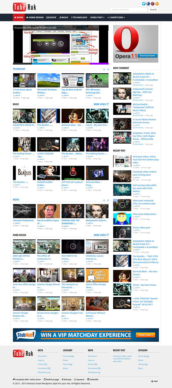 tuberuk video themes homepage