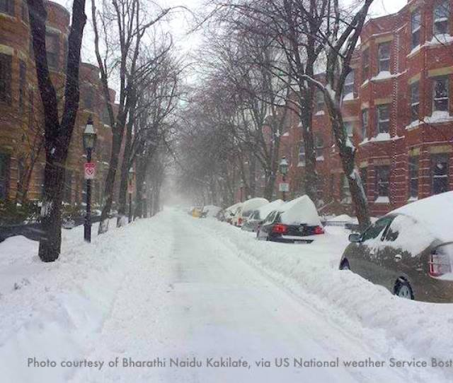 A Street In Bostons Back Bay Neighborhood Buried In Snow By The Same Nor
