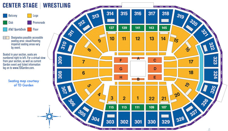 Td Garden Seating Map For Wrestling Matches With Center Arena Also Boston  Sports And Entertainment Rh
