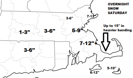 Heaviest snow well south of Boston, lighter snow west of