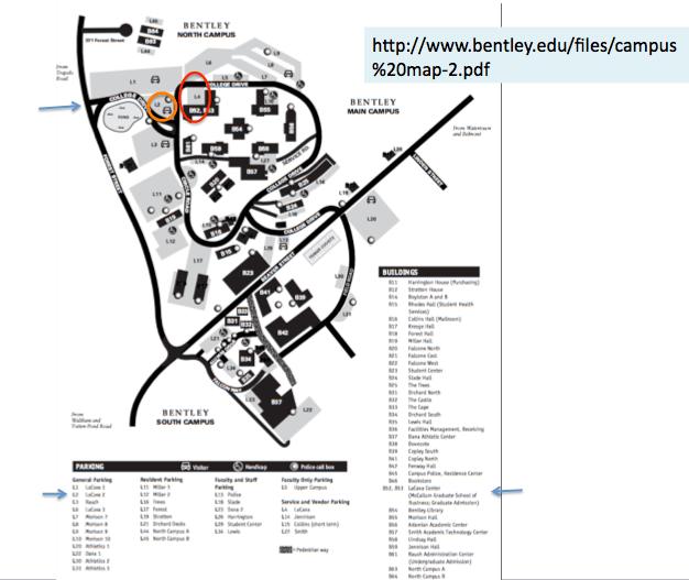 Screen shot of Bentley campus map