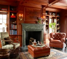 Traditional Fireplace with Library