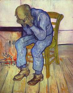 depressed man with face in hands by van gogh