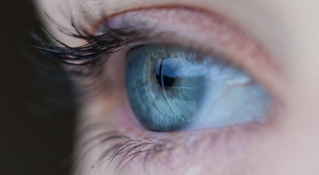 Blue eye from side closeup