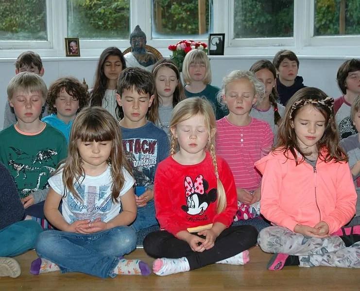 Children meditating in school - Dharma Primary School