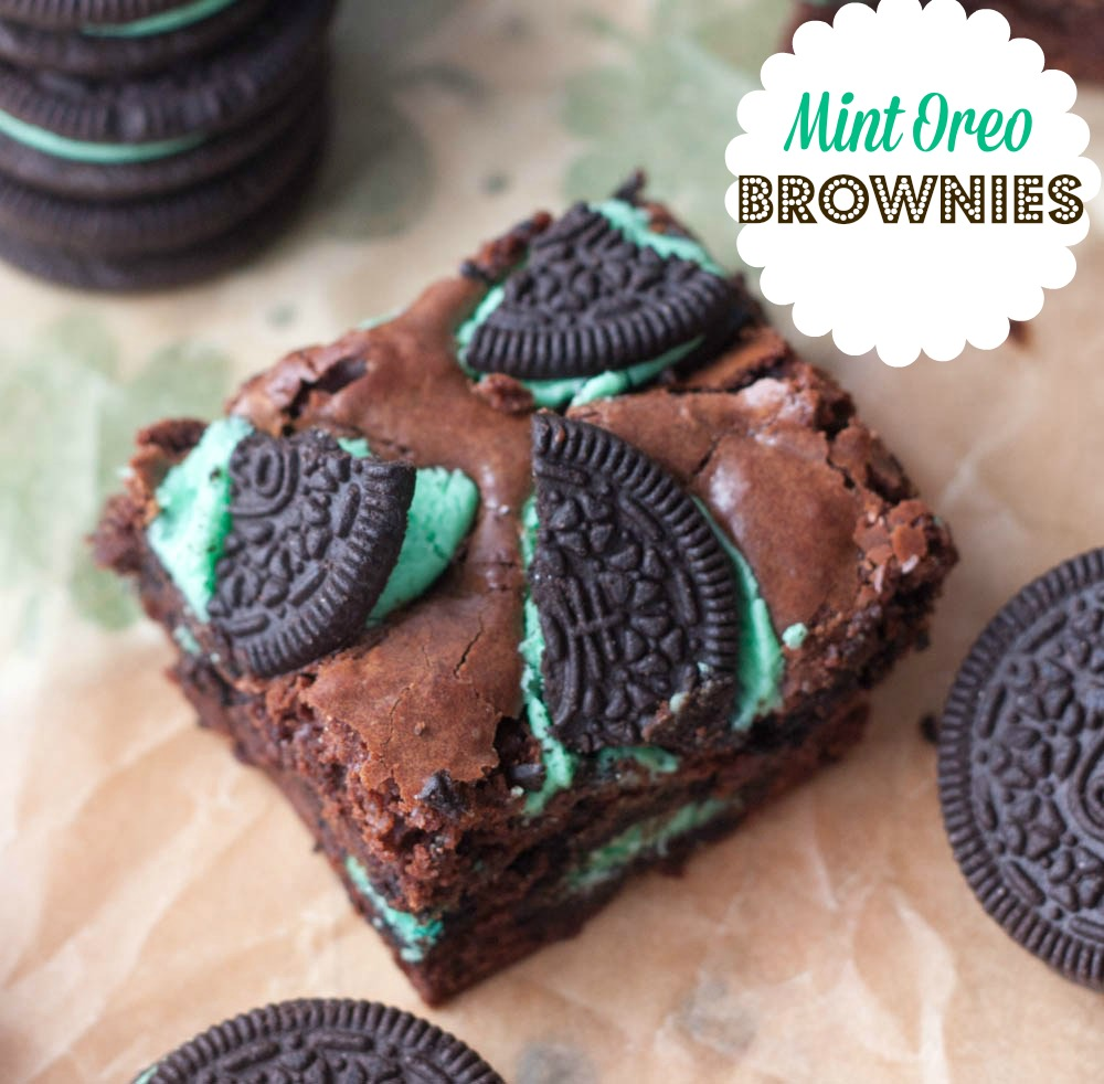 Classic fudgy brownies chocked full of Mint Oreos!