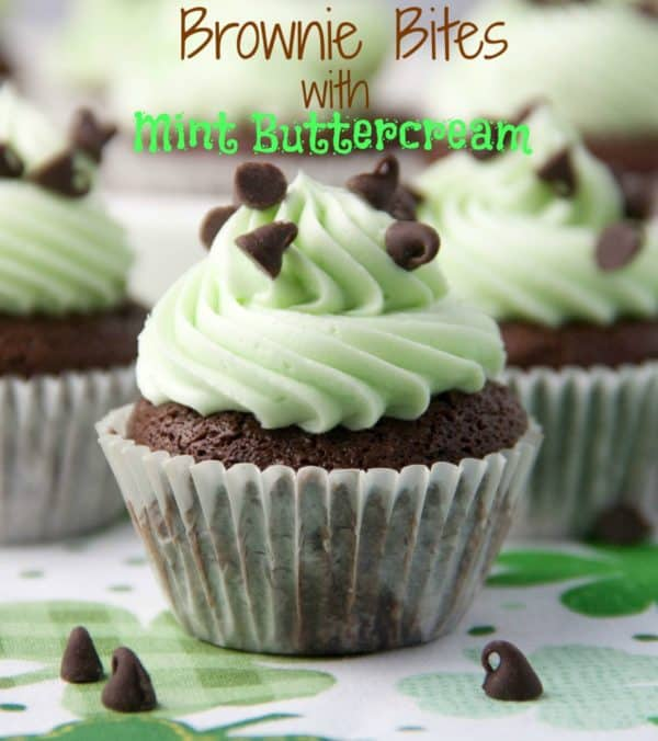 brownie bites with mint buttercream