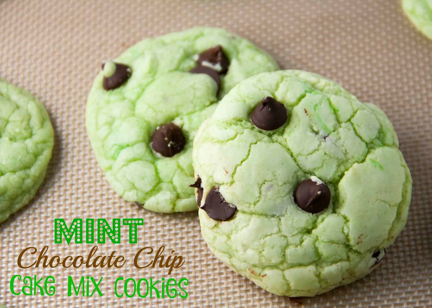 Mint Chocolate Chip Cake Mix Cookies - Boston Girl Bakes