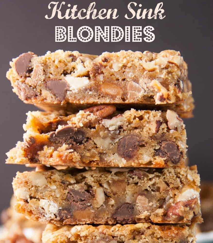 Everything But The Kitchen Sink chewy blonde brownies (with everything but the kitchen sink in