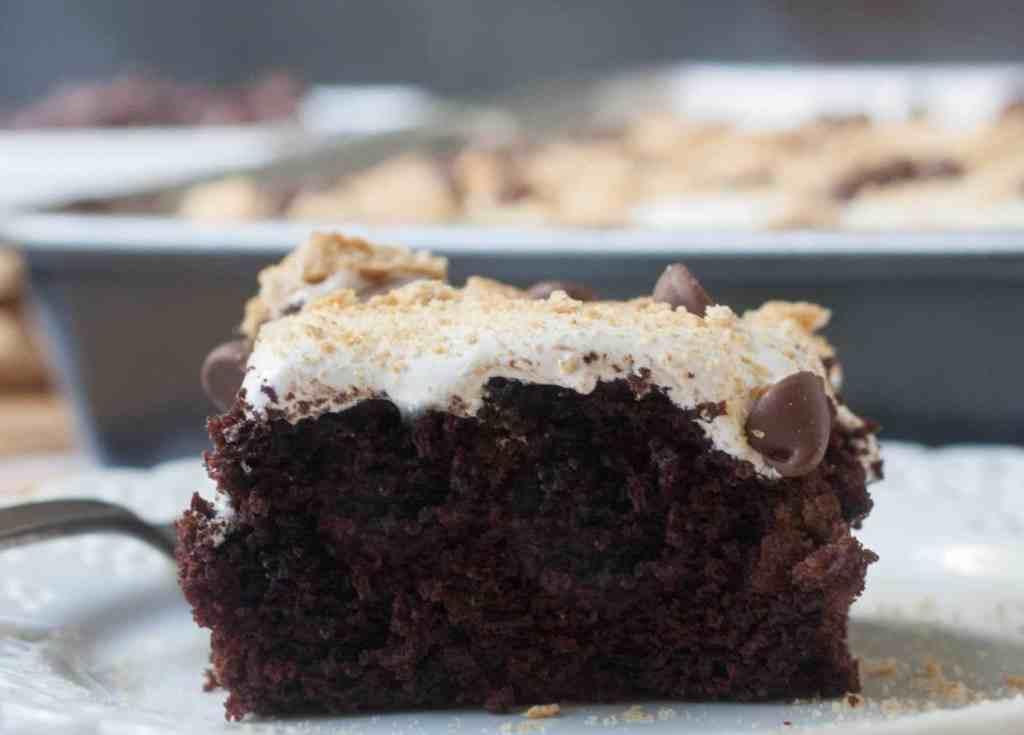 chocolate s'mores poke cake