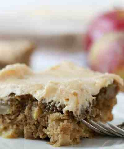 One Bowl Apple Sheet Cake with Easy Caramel Icing