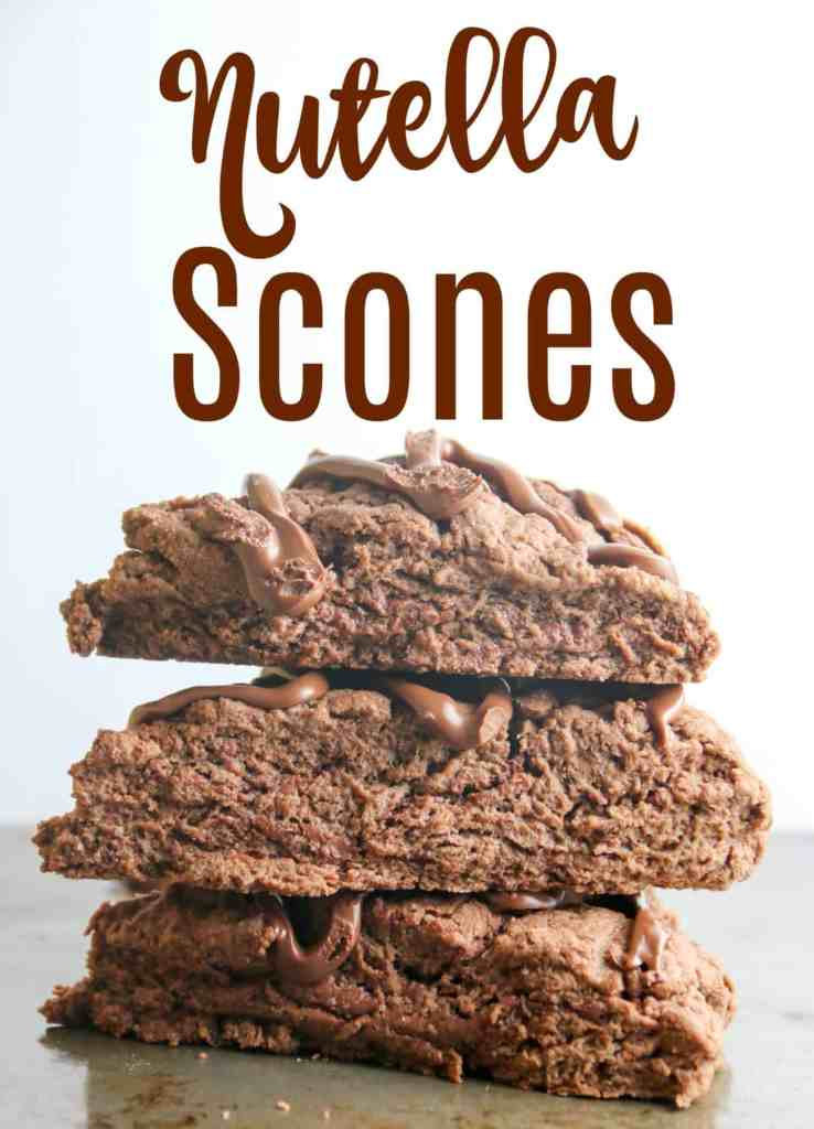 Nutella Scones - Chocolate scones with Nutella swirled in,and more Nutella drizzled on top. Perfect for a Valentine's day breakfast!