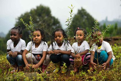 Ethiopian girls took part in a national tree-planting drive in the capital Addis Ababa, on July 28.